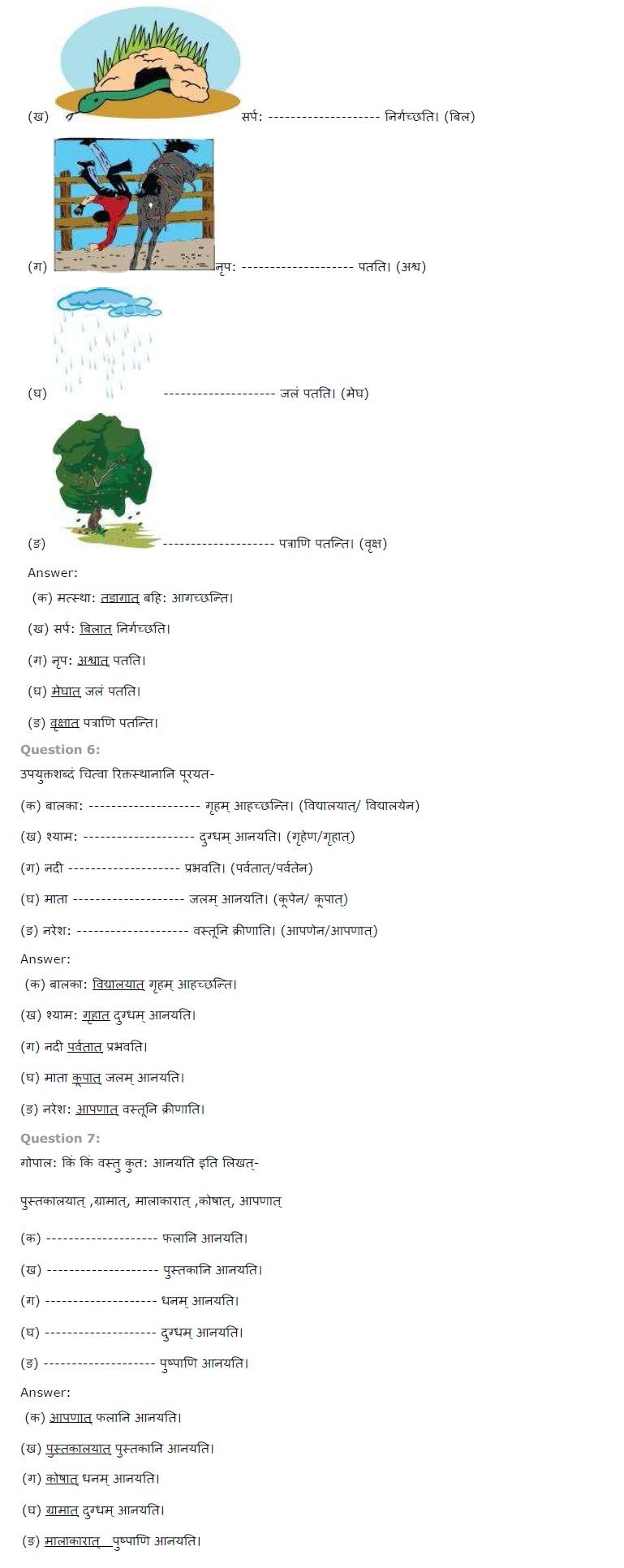 NCERT Solutions Class 6 Sanskrit Chapter 8 अस्माकं विद्यालय पंचमी षष्ठी विभक्ति