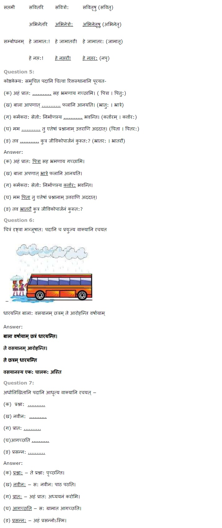 NCERT Solutions for Class 7 Sanskrit Ruchira for Chapter 14 अनारिकाया जिज्ञासा
