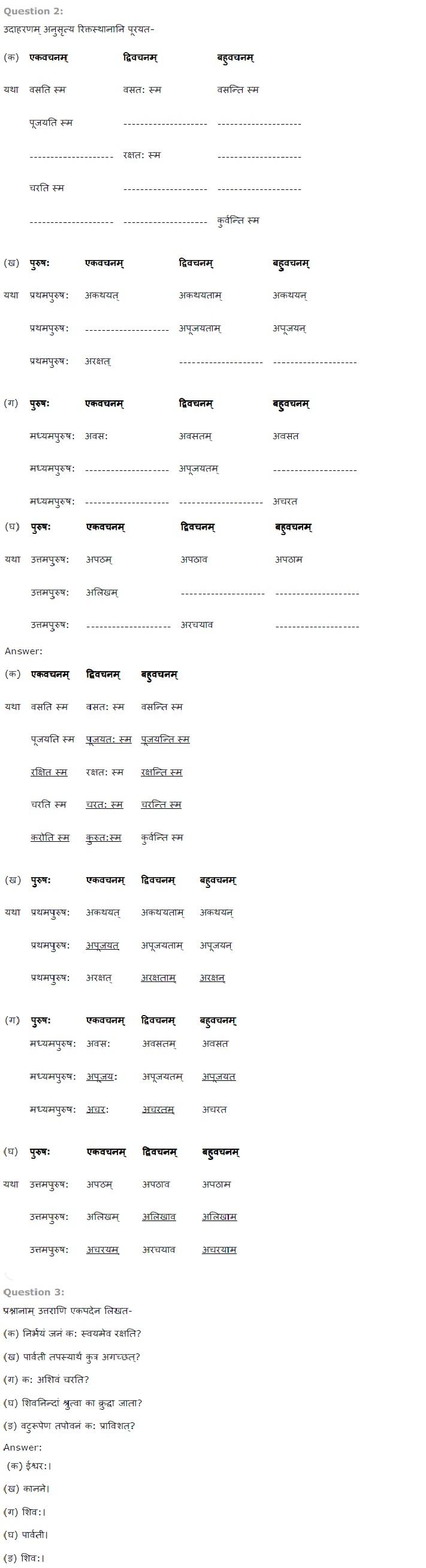 NCERT Solutions for Class 7 Sanskrit Ruchira for Chapter 7 संकल्प सिद्धिदायक धातुप्रयोग
