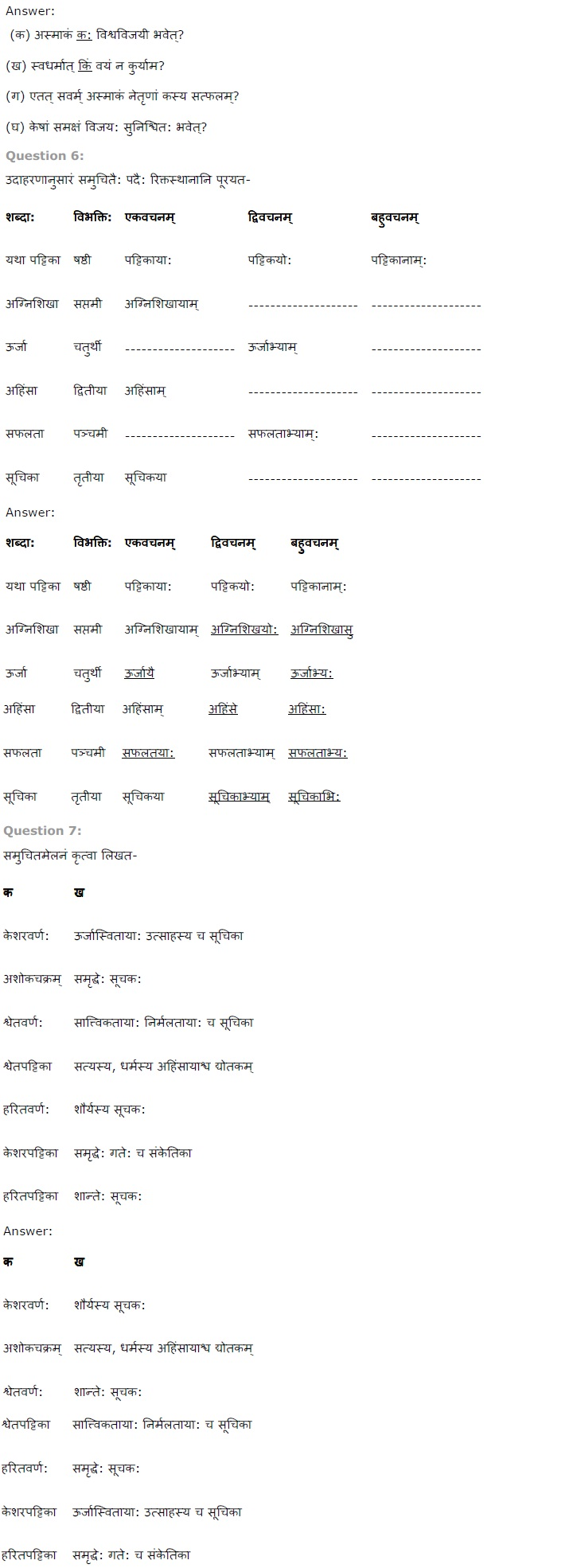 NCERT Solutions for Class 7 Sanskrit Ruchira for Chapter 8 त्रिवर्ण ध्वज