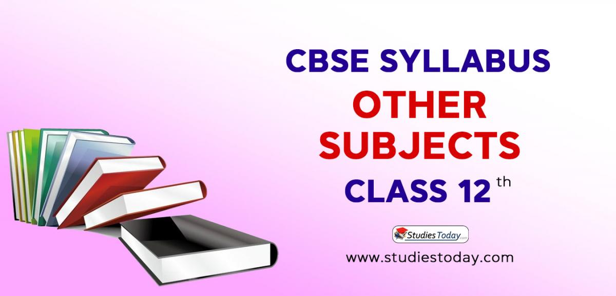 CBSE Class 12 Syllabus for Other Subjects 2020 2021
