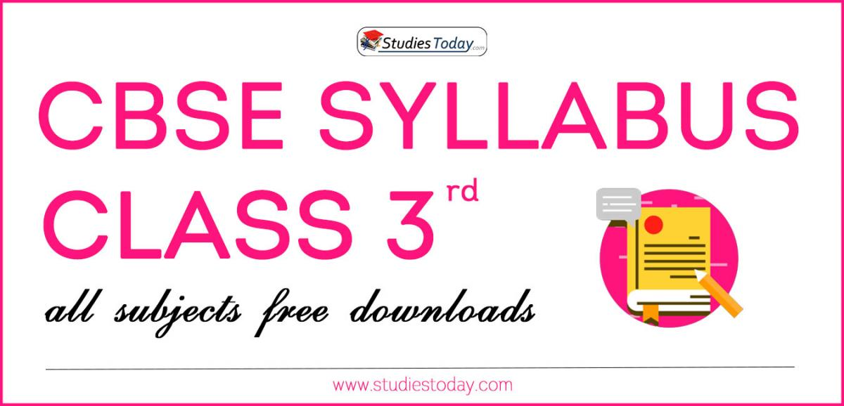 CBSE Class 3 Syllabus for All Subjects