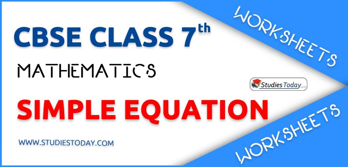 Worksheets For Class 7 Simple Equation