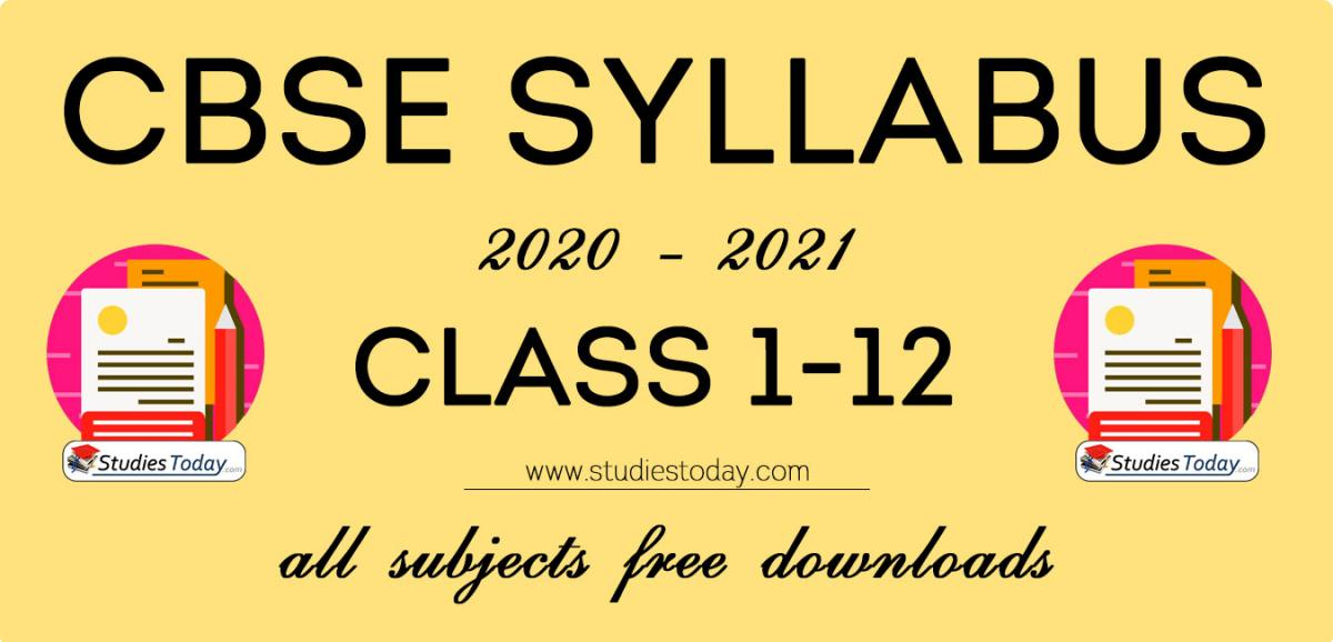 CBSE Class 1 to class 12 Syllabus for All Subjects 2020 2021