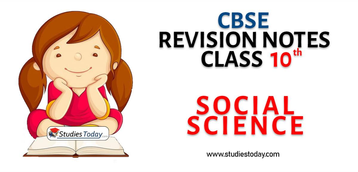 Revision Notes for CBSE Class 10 Social Science