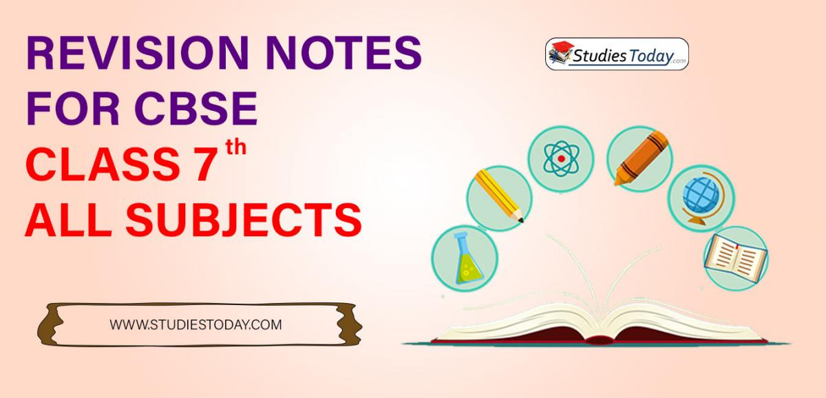 Revision Notes for CBSE Class 7 all subjects