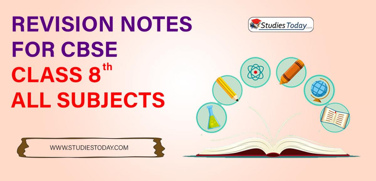 Revision Notes for CBSE Class 8 all subjects