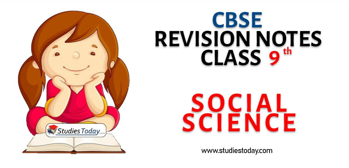 Revision Notes for CBSE Class 9 Social Science