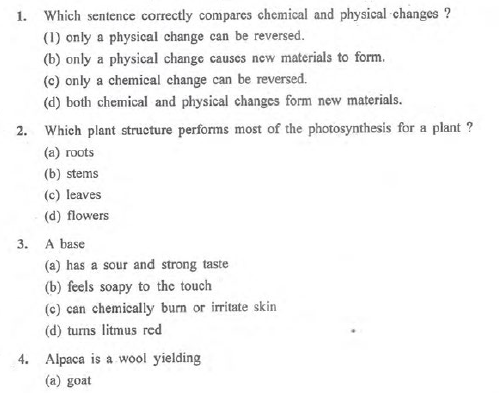 CBSE Class 7 Science MCQs (4), Multiple Choice Questions for