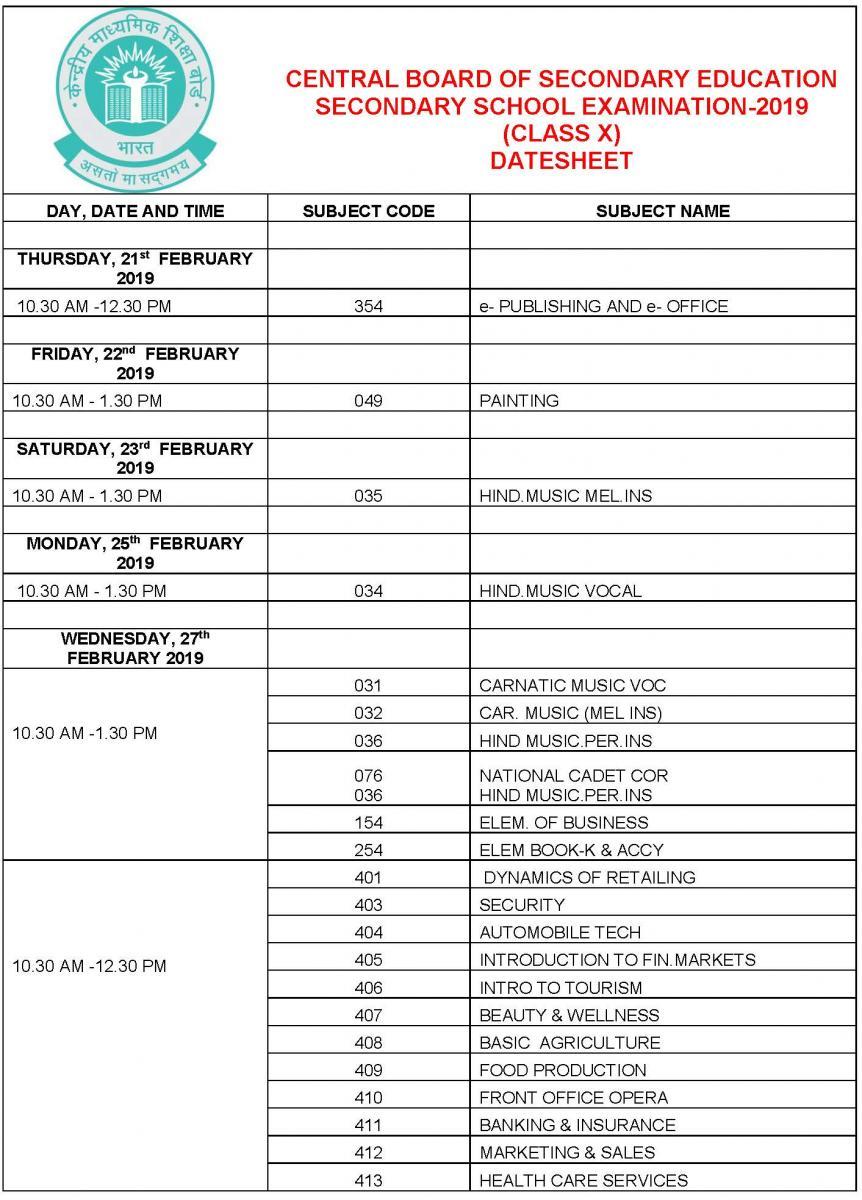 date sheet of cbse board 2020