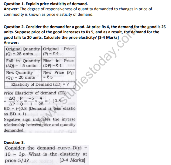 Ncert Solutions Class 12 Economics Elasticity Of Demand
