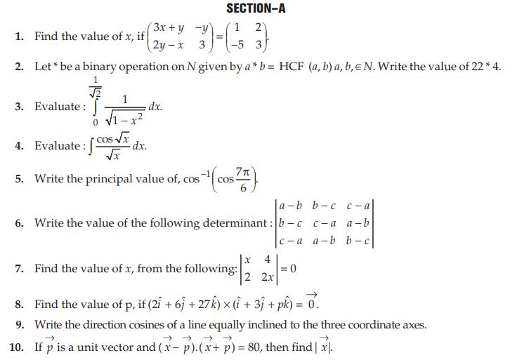 CBSE Class 12 Mathematics Board Question Paper 2009 All