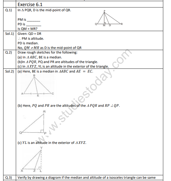 Class 7 Mathematics Triangle and its properties