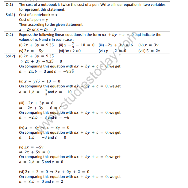 Class_9_Mathematics_Linear_Equations_In_Two_Variables