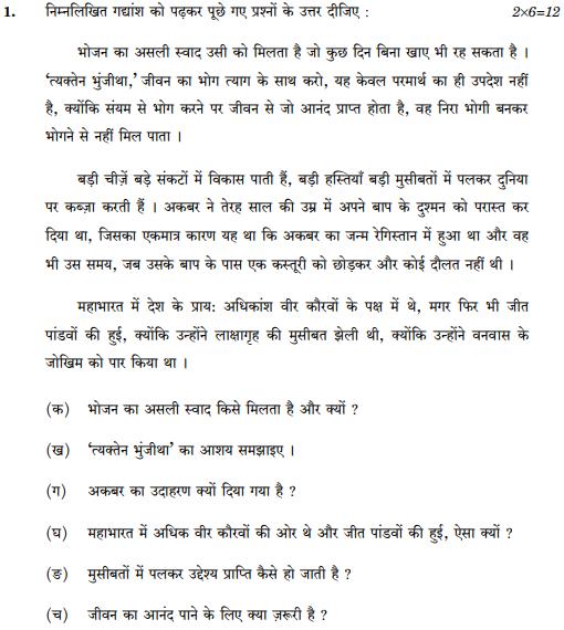 CBSE Class 10 Hindi B Question Paper 2017 Set-3-NSQF