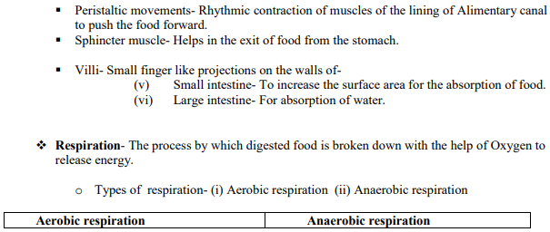 CBSE Class X Science Life Process Concepts Concepts for