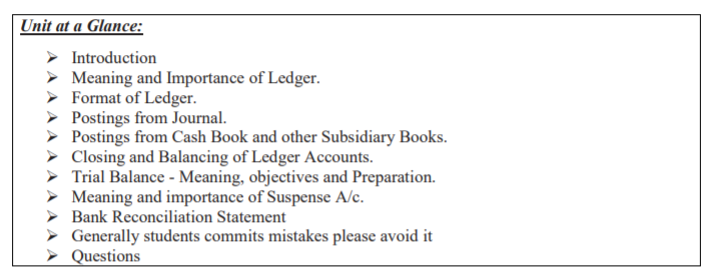 CBSE Class XI Accountancy Preparation of Ledger, Trial