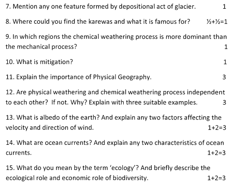 CBSE Class 11 Geography Question Paper Set A