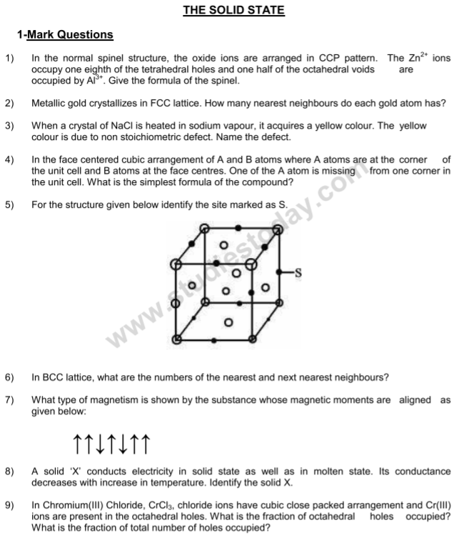 CBSE Class 12 Chemistry notes and questions for The Solid