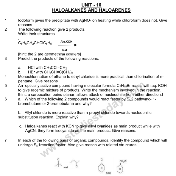 CBSE Class 12 Chemistry notes and questions for Haloalkanes and