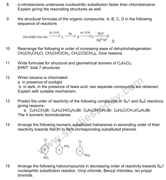 Chemistry Questions For Class 9 Cbse