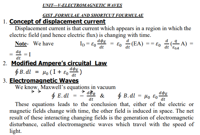CBSE Class 12 Phyiscs - Electromagnetic Waves Formulae
