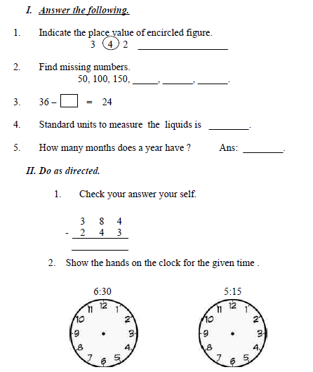 CBSE Class 3 Maths Sample Paper Set I