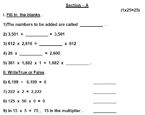 CBSE Class 3 Mathematics Sample Paper Set M