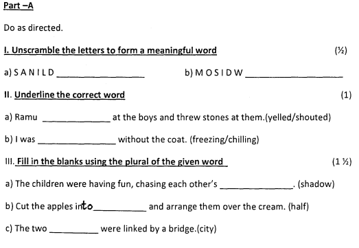 class 1 english worksheets pdf