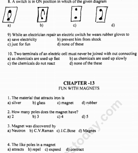 CBSE Class 6 Science Fun With Magnets MCQs, Multiple Choice