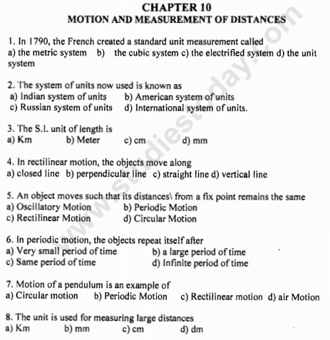 CBSE Class 6 Science Motion and Measurements MCQs, Multiple