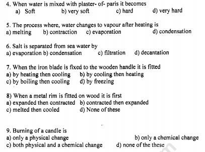 CBSE Class 6 Science Changes Around Us MCQs, Multiple Choice