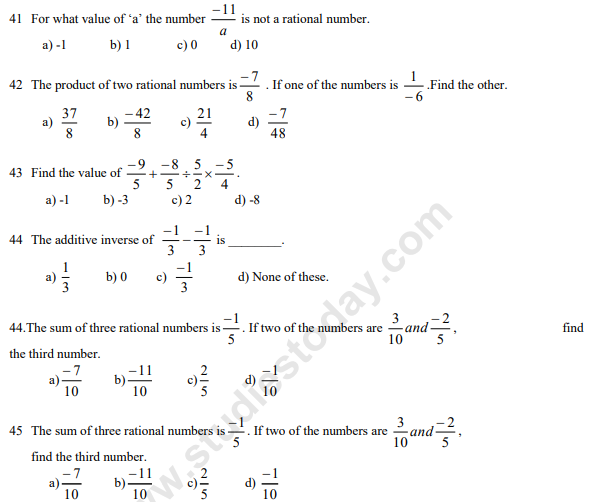 CBSE Class 7 Mathematics MCQs Rational Numbers, Multiple Choice ...