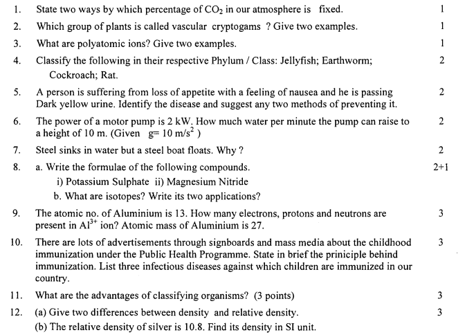 CBSE Class 9 Science Question Paper SA2 2013