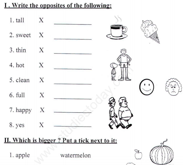 Cbse Class 1 English Vocabulary Assignment Set A