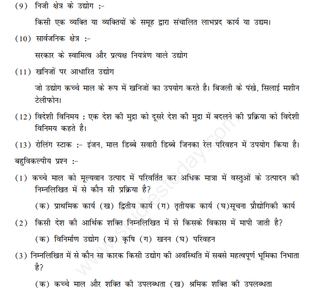 CBSE Class 10 Social Science Geography Manufacturing Industries Hindi Assignment