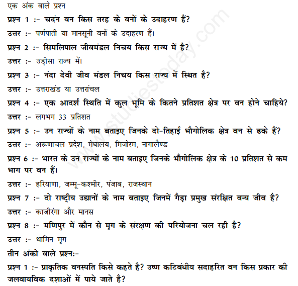 CBSE Class 11 Geography Natural Vegetation Hindi Assignment