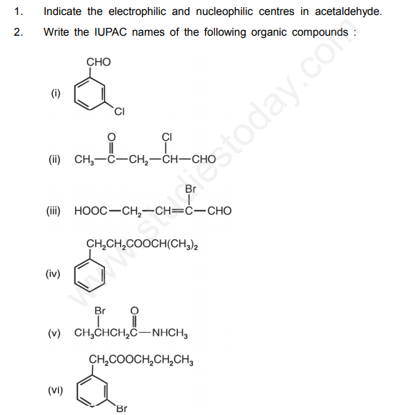 CBSE Class 12 Chemistry Aldehydes Ketons Carboxylic Acids Questions