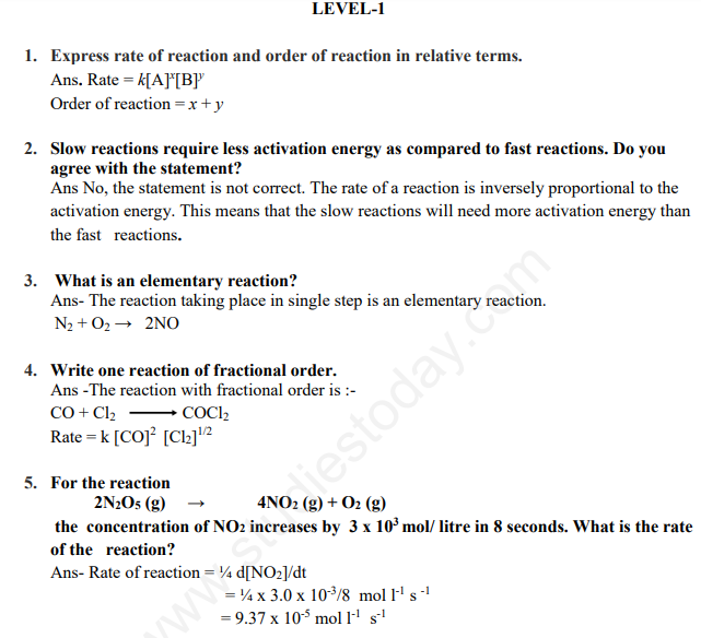 CBSE Class 12 Chemistry Chemical Kinetics Assignment