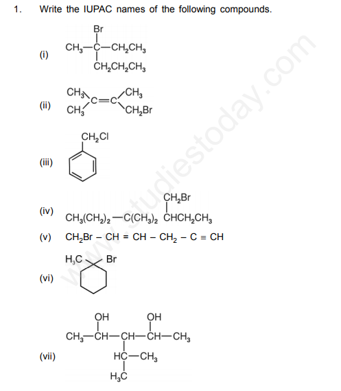 CBSE Class 12 Chemistry Halo Alkanes and Halo arenes Questions