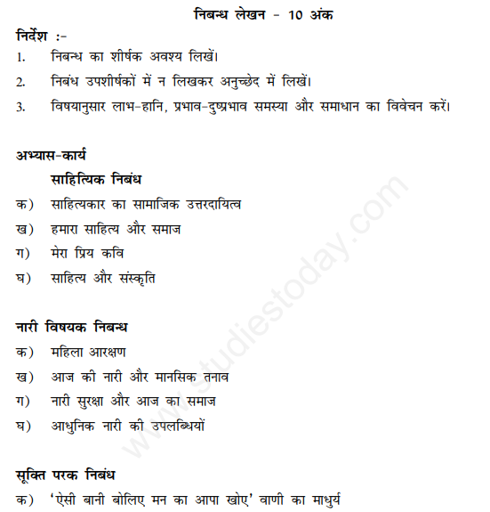 CBSE Class 12 Hindi Elective Writing Skills Assignment