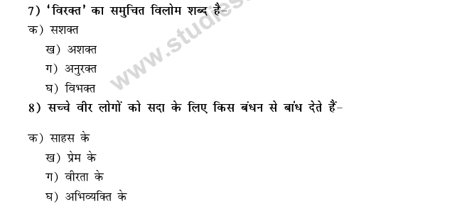 CBSE Class 9 Hindi Conventions MCQs-18