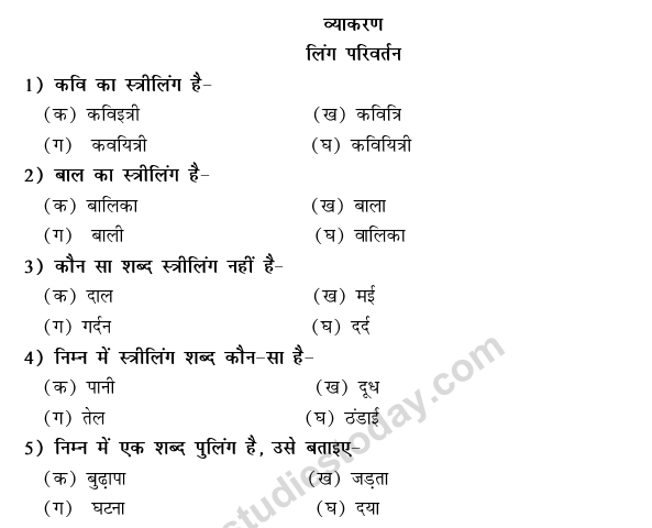 CBSE Class 9 Hindi Conventions MCQs-25