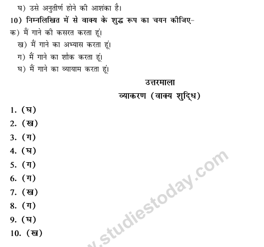 CBSE Class 9 Hindi Conventions MCQs-37