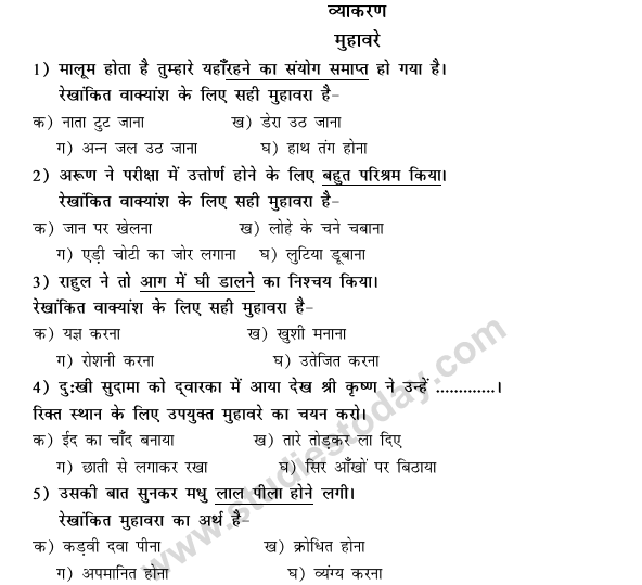 CBSE Class 9 Hindi Conventions MCQs-38