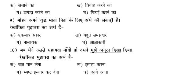 CBSE Class 9 Hindi Conventions MCQs-40