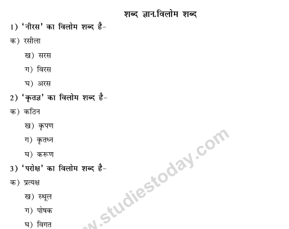 CBSE Class 9 Hindi Conventions MCQs-41