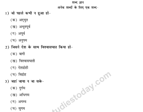 CBSE Class 9 Hindi Conventions MCQs-46