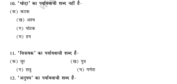 CBSE Class 9 Hindi Conventions MCQs-Paryayvachi Shabd-2