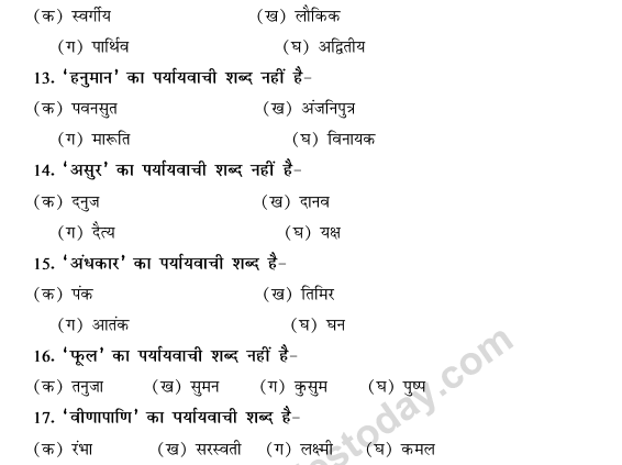 CBSE Class 9 Hindi Conventions MCQs-Paryayvachi Shabd-3